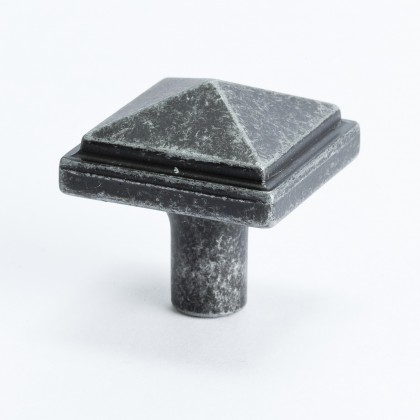 "Square Knob (Weathered Iron) - 1 3/16"""