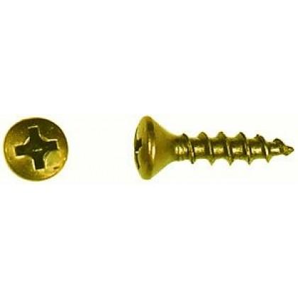 """#6 x 5/8"""" Oval Head, Phillips Drive, Deep Thread, Bright Brass"""