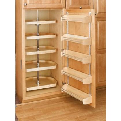 "22"" D-Shape Pantry Lazy Susan (Wood) - Five Shelf set"