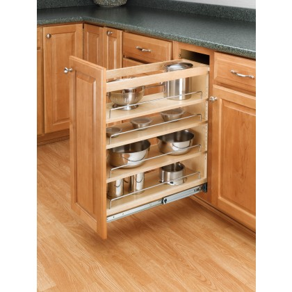 """8"""" 3-Tier Pull Out Base w/ Tri Slides, Wood"""