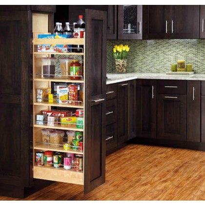 """5"""" x 58"""" Pull Out Wood Pantry"""