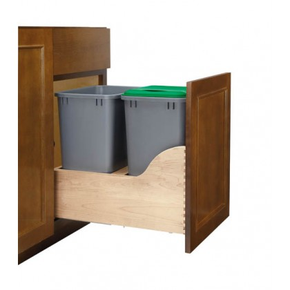 Double Bottom Mount Waste Container (35 Qt) /w SERVO-DRIVE