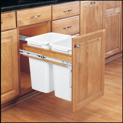 Double 35 Qt Top Mount Wood Pull-Out Waste Container