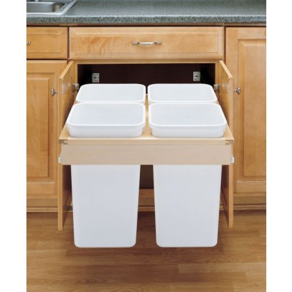 Quad 27 Qt Top Mount Wood Pull-Out Waste Container