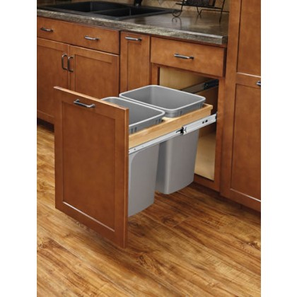 Double 50 Qt Top Mount Wood Pull-Out Waste Container (Soft Close)