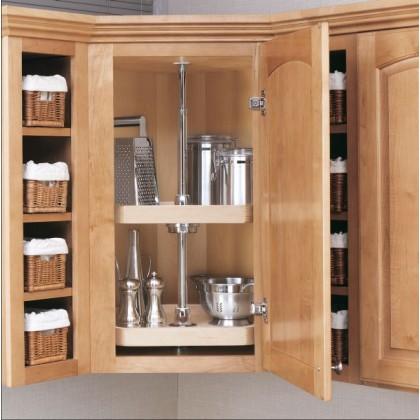 """20"""" D Shape Lazy Susan (Wood) - Two shelf set"""