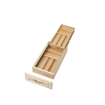 "11-1/2"" Two Tiered Wood Cutlery Tray"