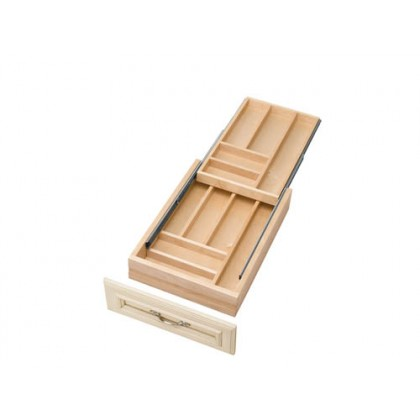 """14-1/2"""" Two Tiered Wood Cutlery Tray"""