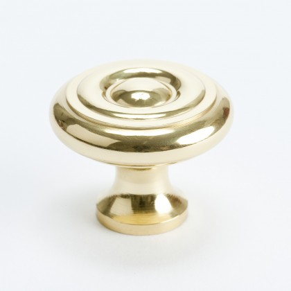 "Newport Circle Knob (Polished Brass) - 1 3/8"""