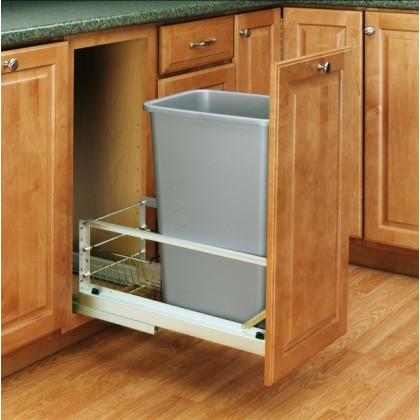 50 Qt. Waste Container (Metallic Silver)