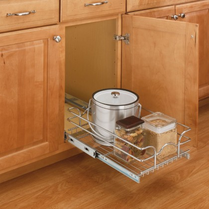 "9"" Single Pull-Out Wire Basket (18"" Depth)"