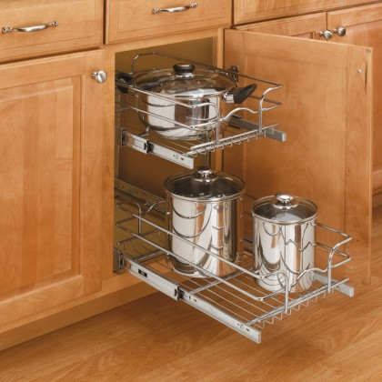 """12"""" Double Pull-Out Wire Basket (18"""" Depth)"""