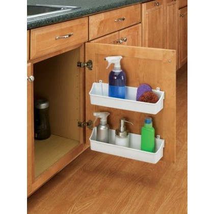 """7 7/8"""" Two Shelf Door Storage Trays w/ Clips (White)"""