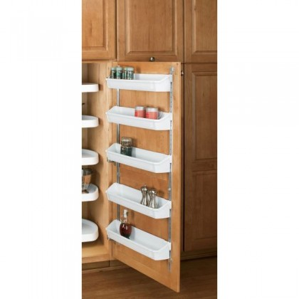 "19 3/4"" Five Shelf Door Storage W/Clips (White)"