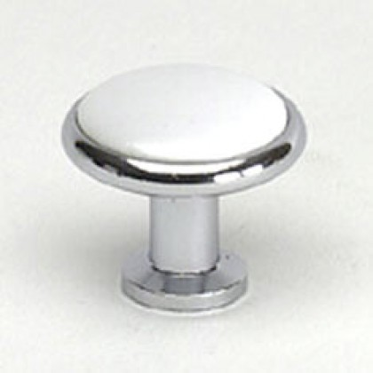 Cadence Knob (Polished Chrome W/White Center) - 1 1/4""