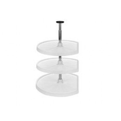 "20"" D Shape Lazy Susan (White) - Three shelf set"