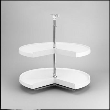 """24"""" Pie Cut Lazy Susan (White) - Two Shelf Set"""