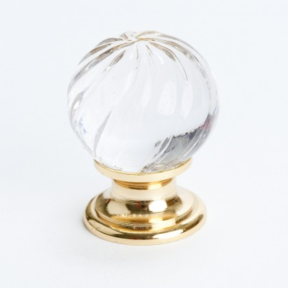 Europa Knob (Crystal Swirl W/Gold Post) - 30mm