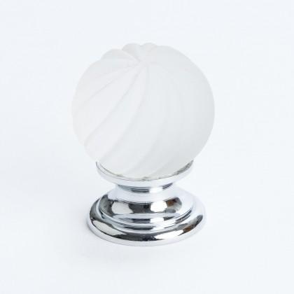 Europa Knob (Dull Crystal Swirl W/Chrome Post) - 30mm