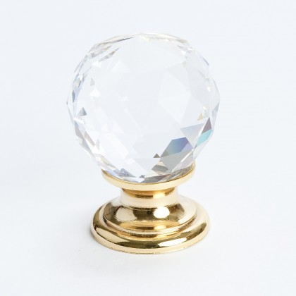 Europa Knob (Crystal Faceted W/Gold Post) - 30mm