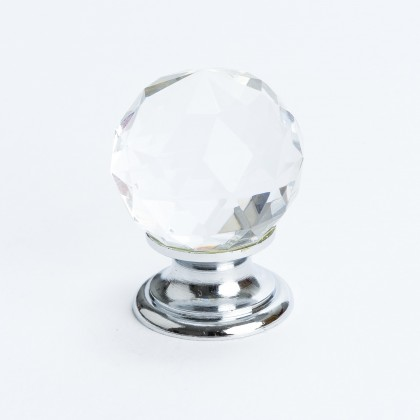Europa Knob (Crystal Faceted W/Chrome Post) - 30mm