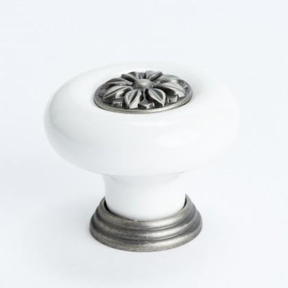 Europa Knob (White W/Tin Flower Center) - 37mm