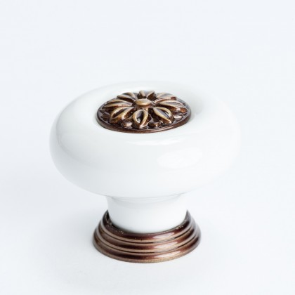 Europa Knob (White W/Bronze Flower Center) - 37mm