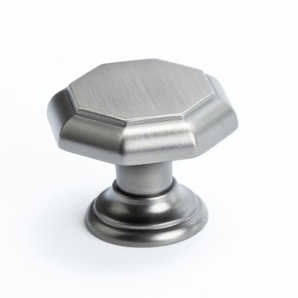 "Euro Classica Octagonal Knob (Brushed Tin) - 1 3/8"""