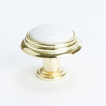 Concord Knob (Polished Brass W/White Center) - 1 1/4""