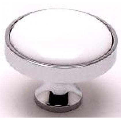 Manchester Knob (Polished Chrome W/White Center) - 1 3/16""