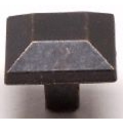 """American Mission Mission Style Square Knob (Rustic Brass) - 1"""""""