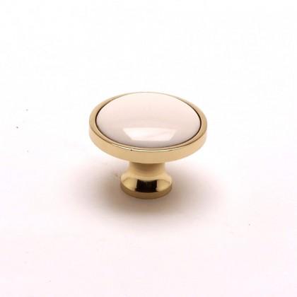 """Manchester Knob (Polished Brass w/ Almond) - 1-3/16"""""""