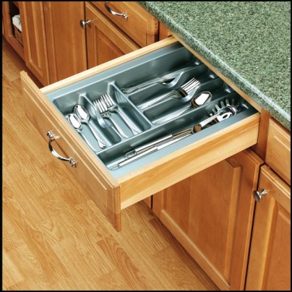 "14 1/4"" Cutlery Tray (Glossy Silver)"