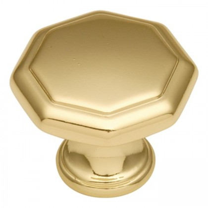 Conquest Octagonal Knob (Polished Brass) - 1 1/4""