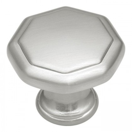 "Conquest Octagonal Knob (Satin Nickel) - 1 1/4"""