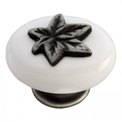 """Country Casual Knob (Satin Pewter Antique W/White) - 1 1/2"""""""