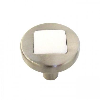 """Loft Knob (Satin Nickel w/ White Matte) - 1"""""""