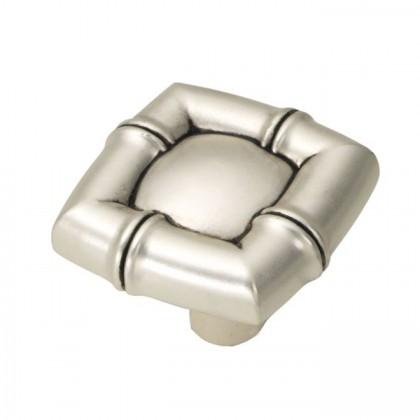 """Bamboo Square Knob (Satin Antique Silver) - 1 1/4"""""""