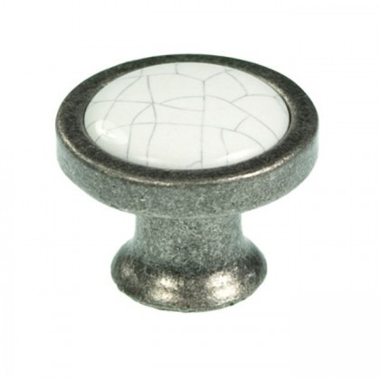 Knob (Tumbled Pewter w/ white grey crackle) - 1 1/2""