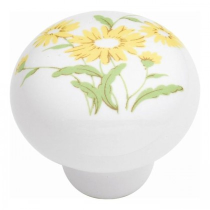 "English Cozy Knob (Yellow Flower) - 1 3/8"""