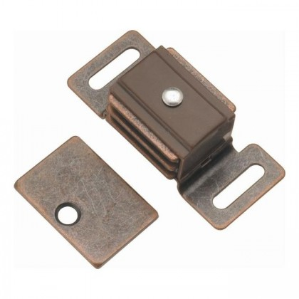 "Double Magnetic Catch (Statuary Bronze) - 3/4"" x 2 1/4"""