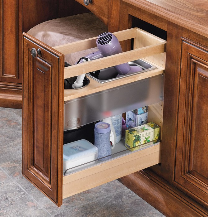 "Under Cabinet Drop Down Shelf Hardware: 8"" Base Height Vanity Grooming Organizer, 445-VCG25-8 (Rev"