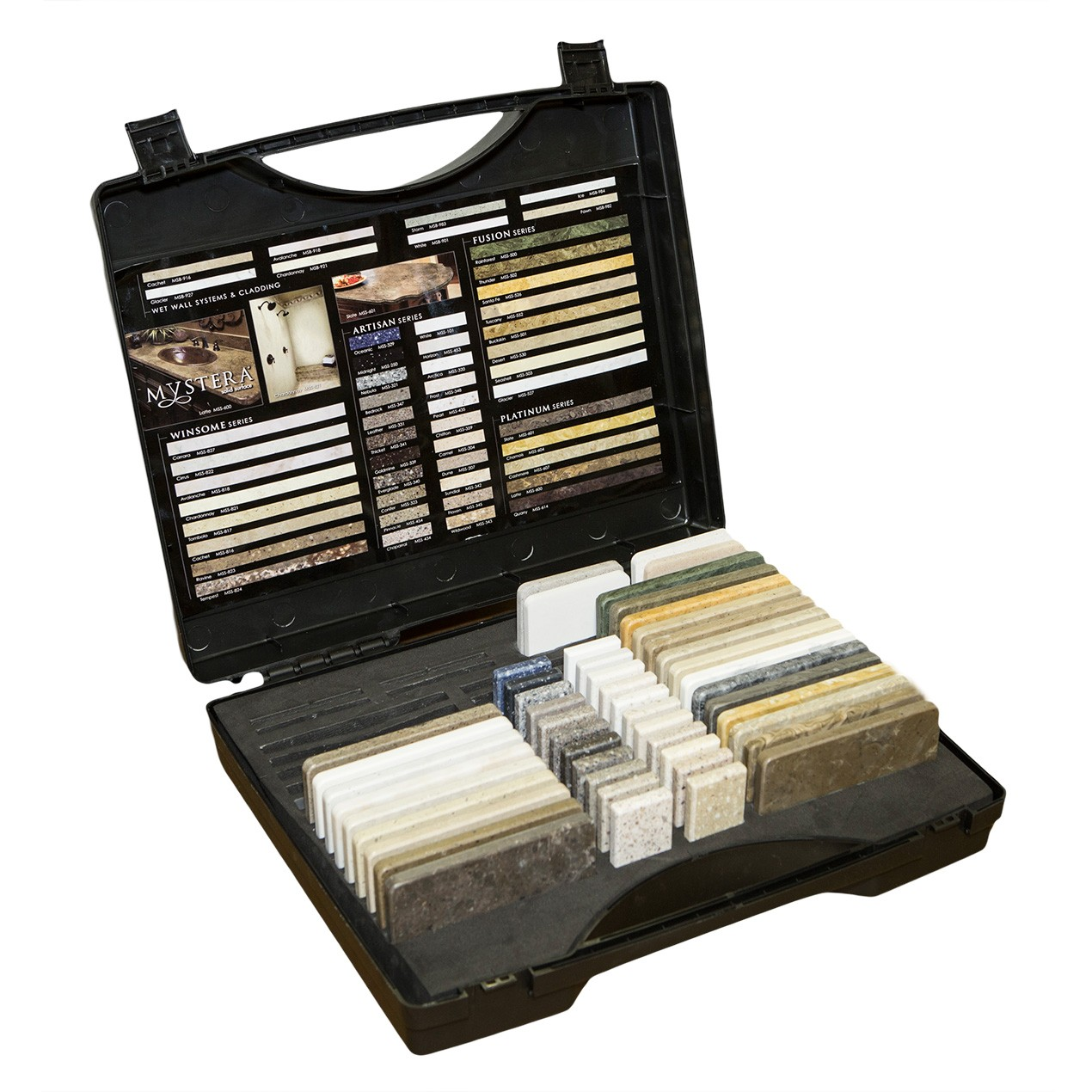 mystera full line sample box all colors in a carrying case