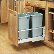 Double 35 Qt. Pull-Out Container (Metallic Silver)