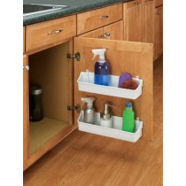 "13 3/4"" Two Shelf Door Storage Trays w/ Clips (White)"