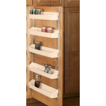 "13 3/4"" Five Shelf Door Storage W/Clips (Almond)"
