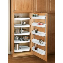 "22"" D-Shape Pantry Lazy Susan (White) - Five Shelf set"