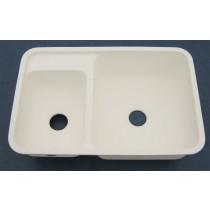 "32"" x 21"" Large & Small Kitchen Sink - White"