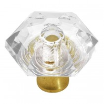 Crystal Palace Hex Knob (Crysacrylic and Polished Brass) - 31mm