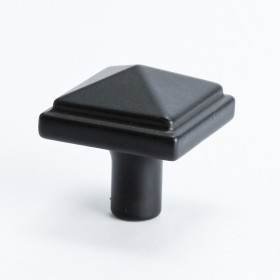 Rhapsody Square Knob (Satin Black) - 1 3/16""